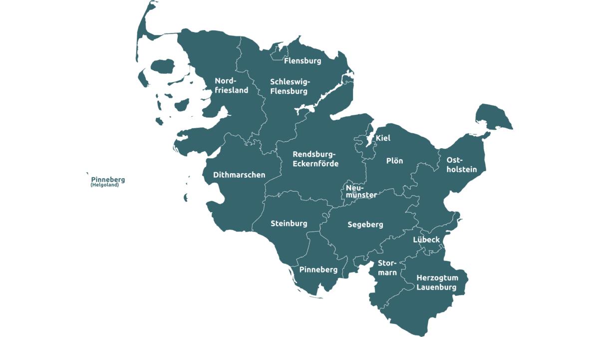 In Schleswig-Holstein gibt es 11 Kreise und 4 kreisfreie Städte.